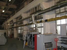 Установка вытяжной системы вентиляции от технологического оборудования в типографском цеху