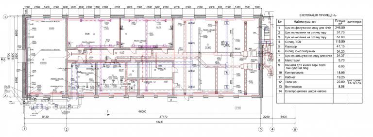 план системы вентиляции производственного цеха, г.Бровары Украина