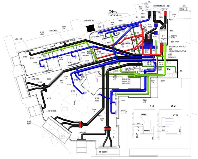 проект системы приточно вытяжной вентиляции магазина бутика, г.Киев Украина