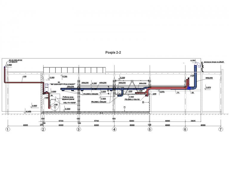 Чертеж с разрезом приточной и вытяжной систем вентиляции в г.Бровары